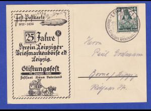 Dt. Reich 1936 Festpostkarte 25 Jahre Briefmarkenbörse Leipzig mit So-O , gel.