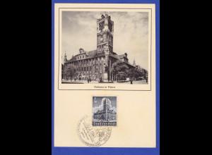 Dt. Reich WHW 1940 Thorn Rathaus Maximumkarte mit So.-O BORNA 30.3.41