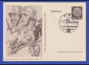 Dt. Reich Sonder-Ganzsache Tag der Briefmarke 1941 Infanterie mit So.-O Kiel