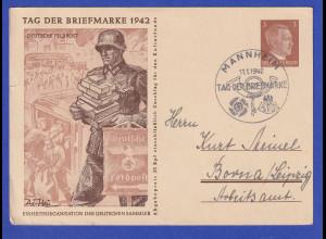 Dt. Reich Sonder-Ganzsache Tag der Briefmarke 1942 Deutsche Feldpost O MANNHEIM