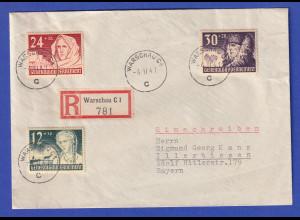 Dt. Besetzung 2. WK Generalgouvernement Mi.-Nr. 56-58 auf R-Bf, O Warschau 1941