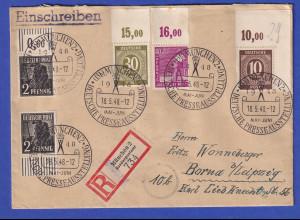 Alliierte Besetzung R-Brief mit 4 Oberrandstücken, So.-O München Presseausst.