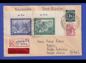 Alliierte Besetzung R-Express-Brief nach Polen mit u.a. Mi.-Nr 967-68 ER