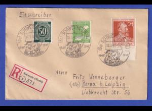 Alliierte Besetzung R-Brief mit So.-O SCHWERIN 1848-1948 vom 18.3.48