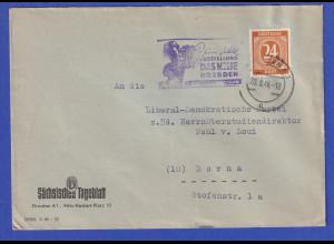 Alliierte Besetzung Brief m. violettem Nebenstempel ...DAS NEUE DRESDEN, 20.8.46