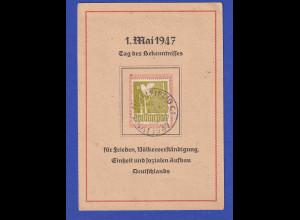 All. Besetzung Friedenstaube Mi.-Nr. 959 mit So.-O auf Karte 1.Mai 1947