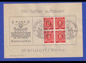 All. Besetzung 8Pfg Mi.-Nr. 917 mit So.-O 1000 Jahre Walldorf 2.11.46 auf Karte