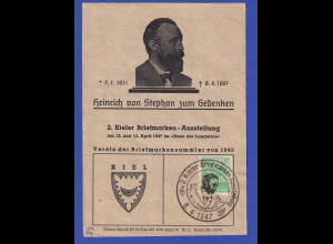 All. Besetzung Mi.-Nr. 958 mit So.-O Kiel auf Gedenkblatt Heinrich v. Stephan