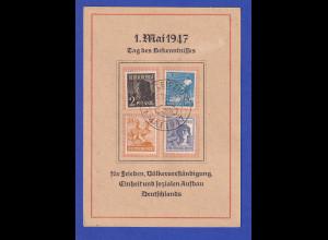 All. Bes. Arbeiter 4 Werte a. Karte Tag des Bekenntnisses So.-LEIPZIG 1.5 1947