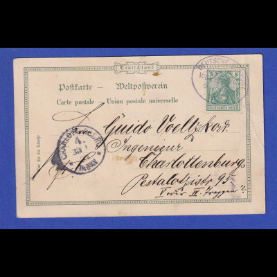 AK Äquatortaufe mit O DEUTSCHE SEEPOST WESTAFRIKA vom 6.1.1903 gel. nach Berlin