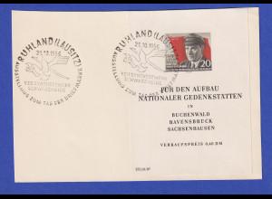 """DDR 1956 Thälmann-Block mit PLF """"roter Strich"""" auf Karte, So.-O RUHLAND"""