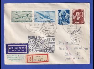 DDR 1956 R-Erstflugbrief Flugpost DLH Berlin-Prag-Bukarest 13.5.1956