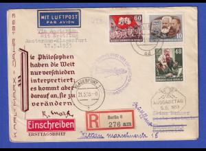 DDR Erstflugbrief KLM über Amsterdam nach Klagenfurt, 17.5.53 , Karl Marx