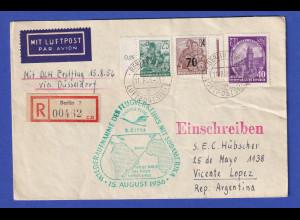 DDR 15.8.1956 R-Erstflugbrief DLH via Düsseldorf nach Südamerika / Argentinien