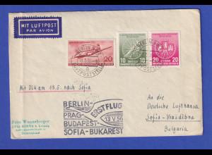 DDR 13.5.1956 Erstflugbrief Berlin bis Sofia / Bulgarien