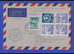 DDR Lp-Brief befördert mit LH-Erstflug LH 602 4.1.57 nach Damaskus