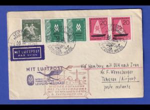 DDR Lp-Brief befördert mit DLH ab Leipzig-Mockau nach Teheran, 7.9.56