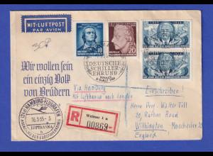 DDR R-Brief ab Weimar befördert mit DLH über Hamburg nach London, 16.5.55