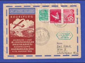 DDR 1. Postsegelflug befördert mit Baby 15.8.56 Brief ab MEININGEN nach WIEN