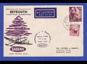 DDR Lp-Brief befördert mit SABENA Erstflug 17.4.55 nach Beirut