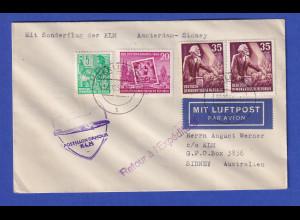 DDR Lp-Brief befördert mit KLM Erstflug Amsterdam-Sydney 31.10.54