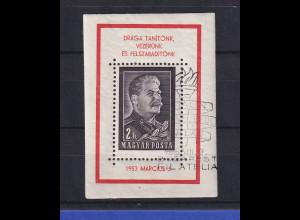 Ungarn Magyar 1953 Tod Josef Stalins Mi.-Nr. Block 23 I gestempelt