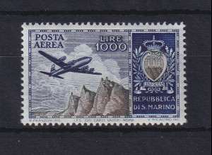 San Marino 1954 Flugpostmarke 1000 Lire Mi.-Nr. 512 postfrisch **