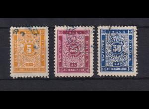 Bulgarien 1887 Portomarken Mi.-Nr. 7 - 9 gestempelt