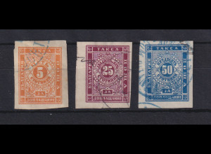 Bulgarien 1885/86 Portomarken Mi.-Nr. 4 - 6 gestempelt
