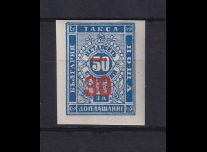 Bulgarien 1895 Portomarke mit rotem Wertaufdruck Mi.-Nr. 11 a ungebraucht *