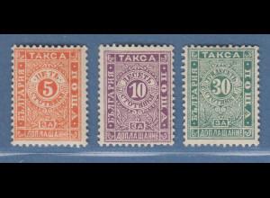 Bulgarien 1896 Portomarken Mi.-Nr. 13-15 Satz kpl. ungebraucht *