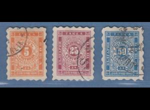 Bulgarien 1884 Portomarken Mi.-Nr. 1-3A Satz kpl. gestempelt