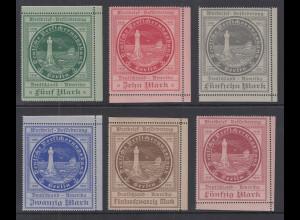 Dt. Ozeanreederei Versicherungsbank Wertzeichen 5M - 50M Mi-Nr. 3-8 ** Top-Qual.
