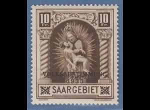 Saar 10 Fr. Madonna Blieskastel mit Aufdruck VOLKSABSTIMMUNG Mi.-Nr. 194 **