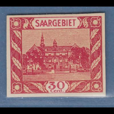 Saar Essay für Freimarken-Ausgabe 1922, nicht verwirklichtes Motiv. 30 Cent rot