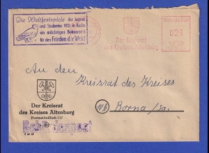 DDR 1951 Behördenpost mit ASF und Propaganda-O Weltfestspiele der Jugend Frieden