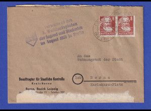 DDR 1951 Behördenpost mit Propaganda-O FDJ Weltfestspiele der Jugend in Berlin