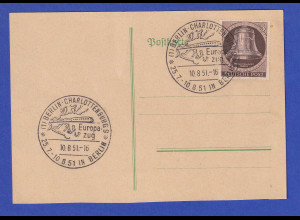 Berlin Glocke links 5Pfg. Mi.-Nr. 75 auf Karte mit So.-O BERLIN Europa-Zug 1951