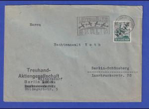 Berlin 16Pfg Schwarzaufdruck auf Luftbrücke-Brief, Masch.-O 6.10.48