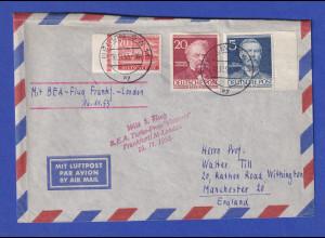 Brief ab Berlin gel. mit BEA-Flug Frankfurt-London 16.11.53 nach Manchester