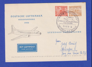 Berlin Privat-Ganzsache Lufthansa Neugründung 1954 mit So.-O 7.8.54
