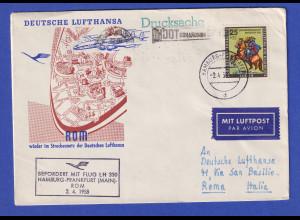 Brief ab Hamburg gel. mit LH-Flug Hamburg-Frankfurt-Rom 2.4.58 EF Berlin # 158
