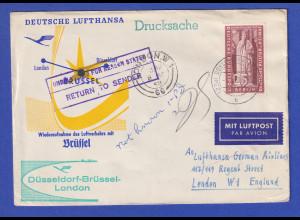 Drucksache ab Düsseldorf LH-Flug nach London 1958, EF Berlin # 173