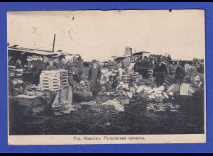 AK Markt in Kainsk (heute Kuibyschew) in Sibirien gelaufen 1913