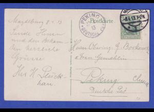 Dt Reich AK Magdeburger Dom 1913 gelaufen nach Peking / China