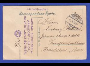 Österreich AK Bürgstein (heute Sloup v Čechách) 1911 gel. nach Tsingtao/China