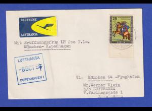 Berlin Mi.-Nr. 158 als EF auf Karte LH Eröffnungsflug München-Kopenhagen 7.10.57