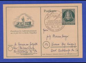 Berlin Sonder-GA Glocke Einweihung Luftbrücke-Denkmal 1951 mit So-O nach Leipzig