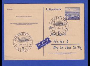 Berlin Luftpost-GA Flughafen Tempelhof 1954 gel. ab Hannover nach München