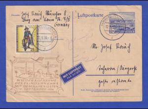Berlin Luftpost-GA Flughafen Tempelhof 1956 gel. ab Hamburg nach Teheran